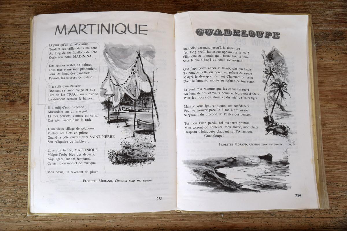 Double page de poèmes, extraits de : « Des bêtes… des enfants… des hommes… »
